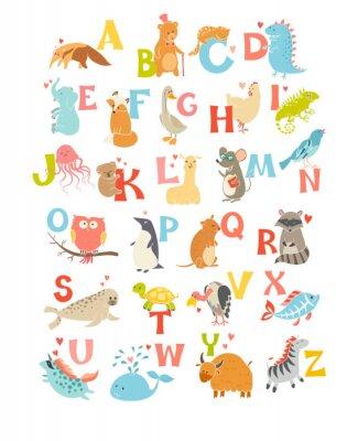 Affisch Söt vektor zoo alfabetet. Roliga tecknad filmdjur. Vector Illustration EPS10 isolerad på vit bakgrund. Bokstäver. Lär dig att läsa