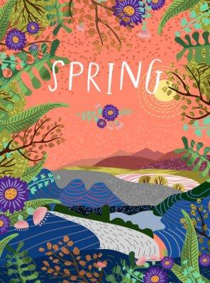 Affisch Söt vektorillustration av vårtid, vackert landskap med himmel, sol, väg och glade omgiven av blommor, växter och träd.