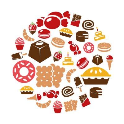 Affisch sötsaker ikoner i cirkel