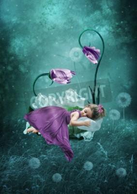 Affisch Sova liten flicka i magisk skog
