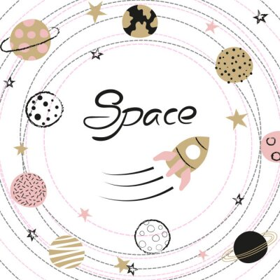 Affisch Space vector illustration with hand drawn planets and rocket for kids.