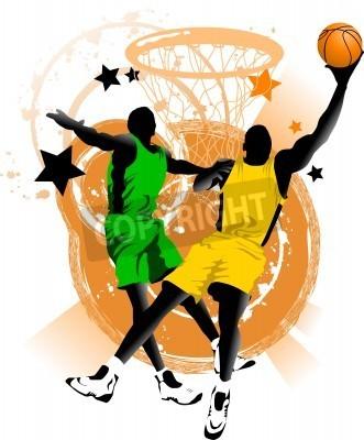Affisch spelare i basket på bakgrunden basket ringar (vector);