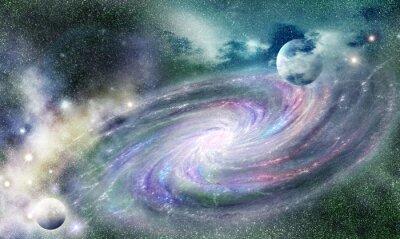 Affisch spiralgalax i universum
