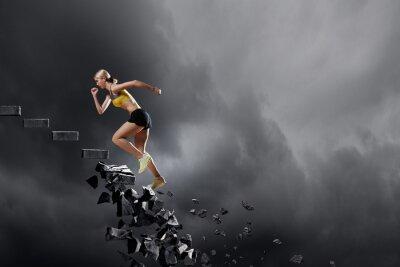Affisch Sport kvinna övervinna utmaningar