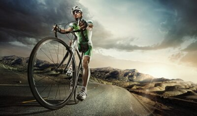 Affisch Sport. väg cyklist