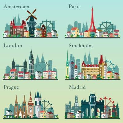 Affisch Städer horisonter inställd. Vektor platt landskap. Europeiska städer Stads