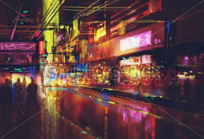Affisch stadsgata med belysning och nattliv, digital målning