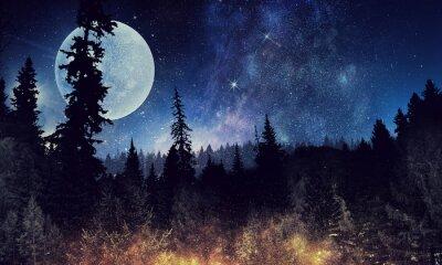 Affisch Starry sky och moon. Mixad media