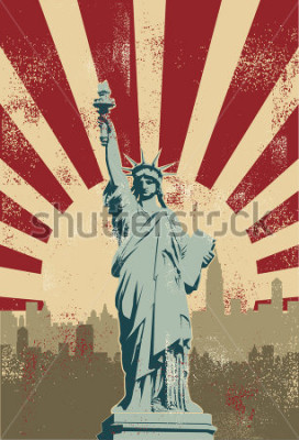 Affisch Statue of Liberty, New York City, vector