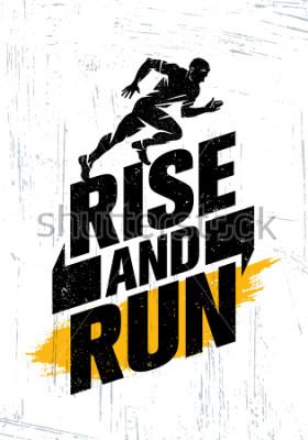 Affisch Stiga upp och springa. Marathon Sport Event Motivation Citat Poster Koncept. Aktiv Livsstil Typografi Illustration På Grunge Bakgrund With Texture