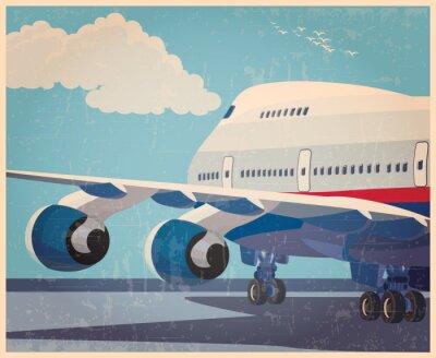 Affisch stora civila flygplan gammal affisch