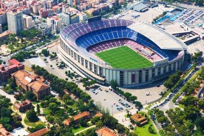 Affisch Största stadion i Barcelona från helikopter. Katalonien