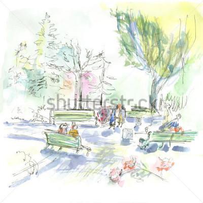 Affisch Summer park, sketch, watercolor
