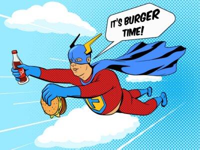Affisch Superhjälte fet man och hamburgare serietidning vektor
