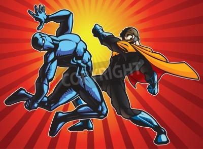 Affisch Superhjälte och en ninja gör strid.