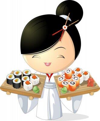 Affisch sushi flicka