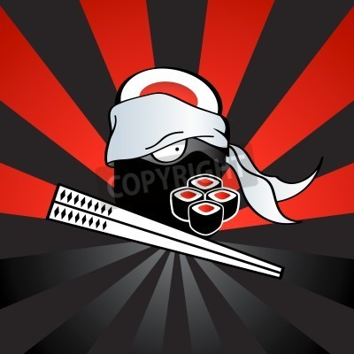 Affisch Sushi ninja med farliga katana-pinnar och kryddig rullar