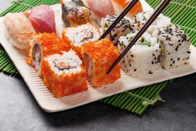 Affisch Sushi och maki uppsättning