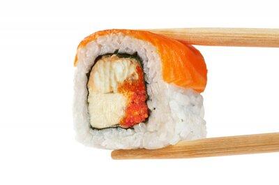 Affisch Sushi rullar med lax, ål, kaviar och philadelphia ost. Ch