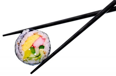 Affisch Sushi rulle med svarta pinnar isolerad på vit bakgrund