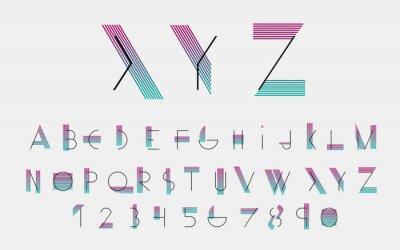 Affisch Svart alfabetiska typsnitt och siffror med färglinjer. Vektor illustration.