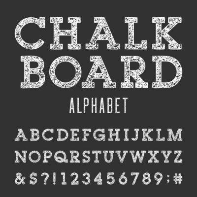 Affisch Svarta tavlan alfabet vektor Font