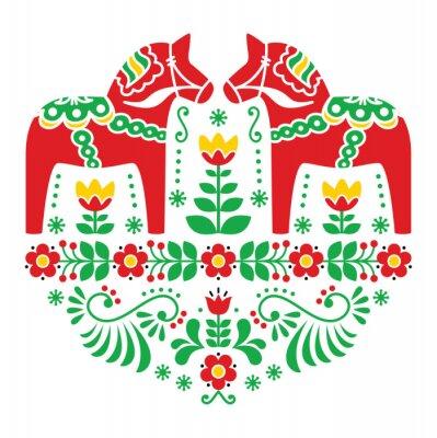 Affisch Svensk Dala eller Daleclarian häst blom- folk mönster