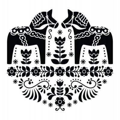 Affisch Svensk Dala eller Daleclarian häst folk mönster i svart