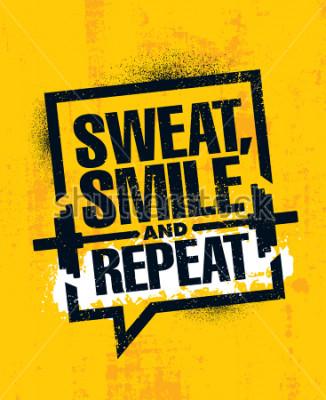 Affisch Svett, le och repetera. Inspirerande träning och fitness Gym Motivation Citat Illustration Tecken. Kreativ Stark Sport Vector Grov Typografi Grunge Wallpaper Poster Koncept