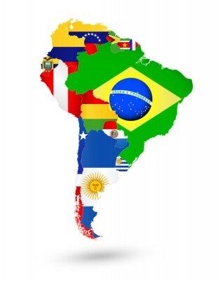 Affisch Sydamerika Karta med flaggor och var på världskartan