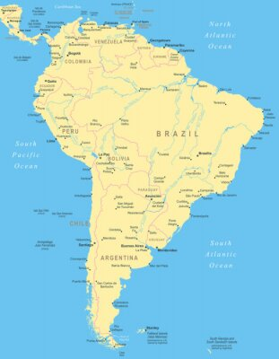 Affisch Sydamerika karta - mycket detaljerade vektorillustration.