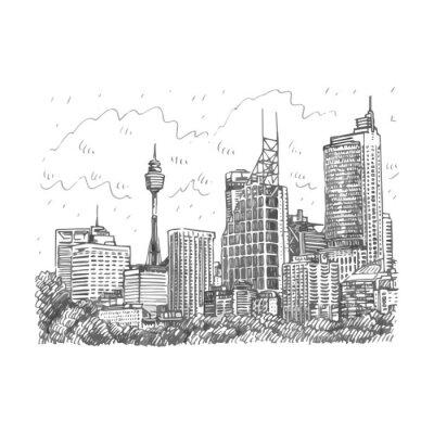 Affisch Sydney Tower och skyskrapor syn på Sydney, Australien. Vektor frihand blyertsskiss.