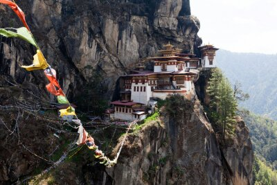 Affisch Taktshang Goemba Tiger Nest kloster i Bhutan