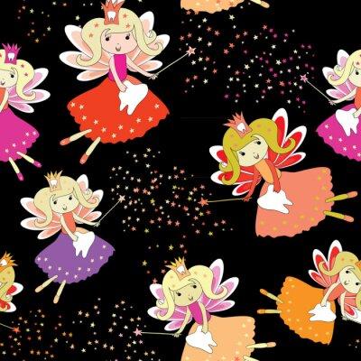 Affisch Tand älvor med magiska wands och stjärnor runt. Sömlöst mönster. Vektor illustration på svart bakgrund