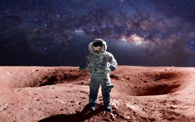 Affisch Tapper astronaut vid rymdpromenaden på Mars. Denna bildelement tillhandahållits av NASA.