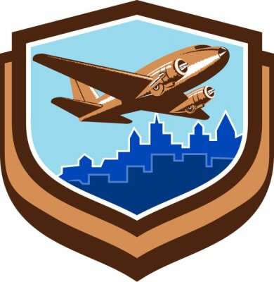 Affisch Tappning flygplan Take Off Cityscape Shield Retro