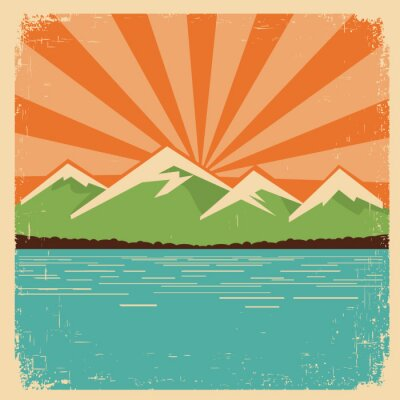 Affisch Tappning Nature poster.Mountains horisont