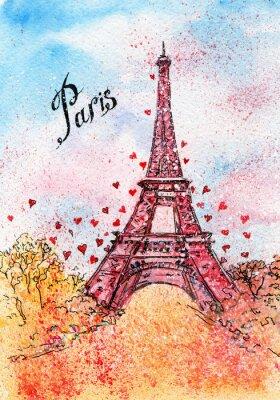 Affisch tappningvykort. akvarellillustration. Paris, Frankrike, Eiffeltornet