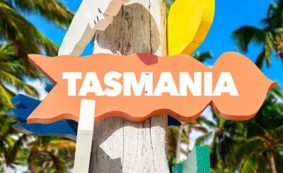 Affisch Tasmanien välkommet tecken med palmer