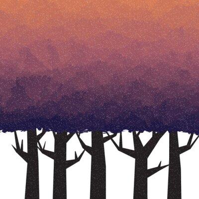 Affisch Tät skog i skymningen tid