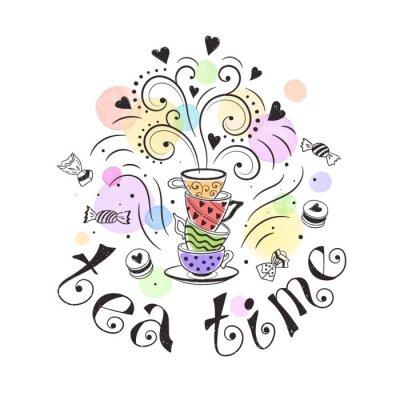 Affisch Tea time affisch koncept. Teaparty kortdesign. Räcka utdraget klotter illustration med tekannor, koppar och godis.