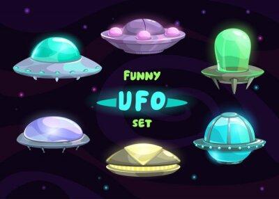 Affisch Tecknad fantastisk ufo uppsättning