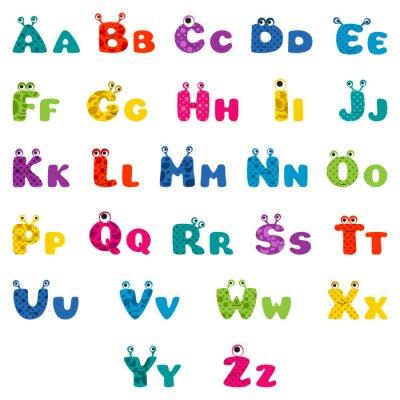 Affisch tecknad filmmonster alfabet