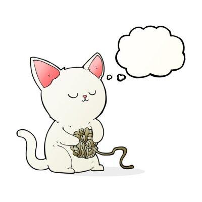 Affisch tecknad katt leka med boll av garn med tanke bubblar