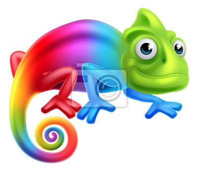 Affisch Tecknad Rainbow Chameleon