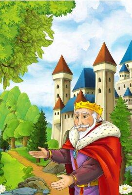 Affisch Tecknad scen med glad kung välkomna någon - vacker manga man - illustration för barn