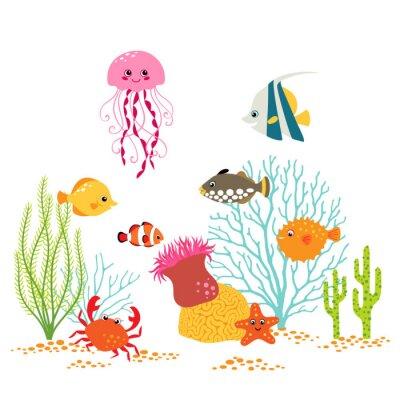 Affisch Tecknad undervattens- design på vit bakgrund