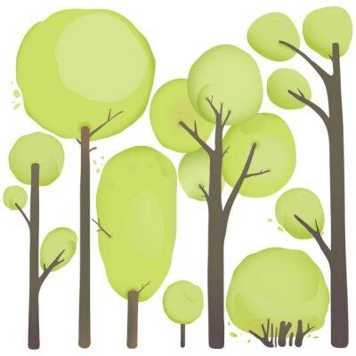Affisch Tecknad vattenfärg Trees Set