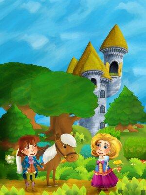 Affisch Tecknade skogsplats med prins med sin häst och prinsessa som står och pratar på vägen nära slottstornet