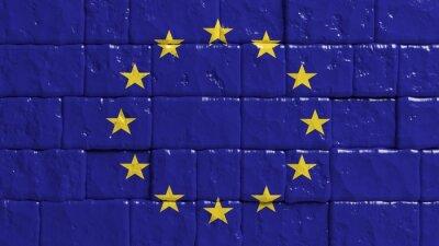 Affisch Tegelvägg med målad flagga Europeiska unionens